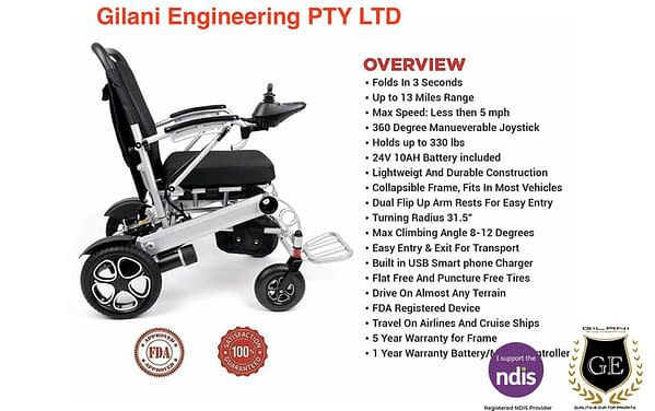 Heavy duty foldable folding electric mobility wheelchair Weight capacity 130kg