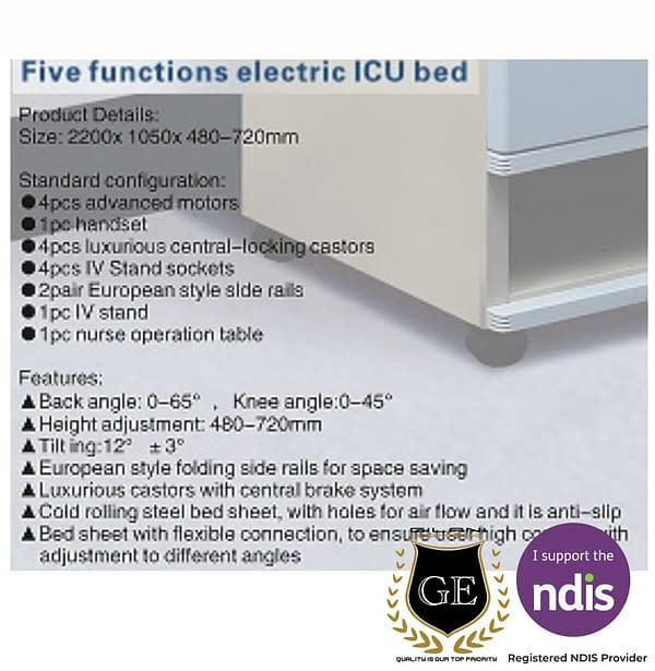 Fully adjustable electric single hospital and home care bed 5 setting details